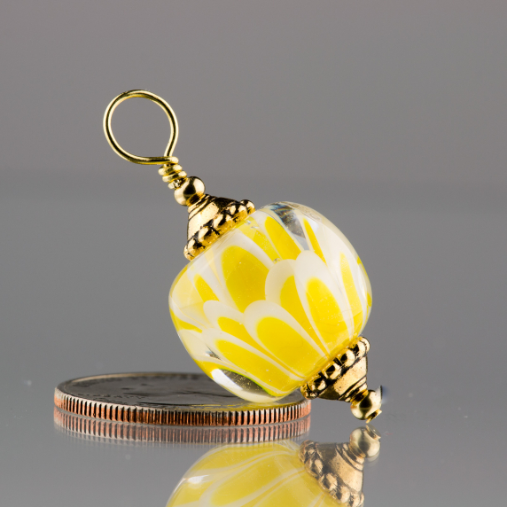 Lemon Yellow Lotus Flower Pendant