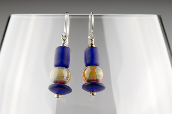 Blue and Taupe Glass Earrings