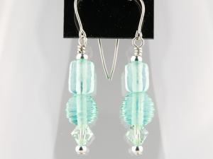 Transparent light green earrings.